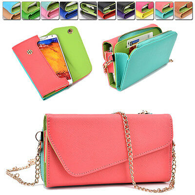 Ladie's PU Leather Wallet Case Cover & Crossbody Clutch for Smart-Phones XLUB1