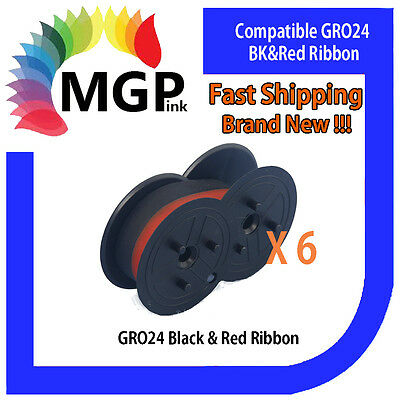 6x GRO24 Black & Red Compatible Ribbon-Samsung ER240/SANYOECR175TEC/MA85