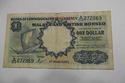 1959 MALAYSIA 1 DOLLAR NOTE serial number A/33 272869