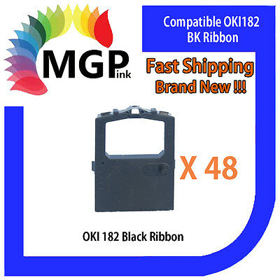 48x OKI-182 Compatible Black Ribbon – OKIDATA ML120/172/180/182/183/186/190/192