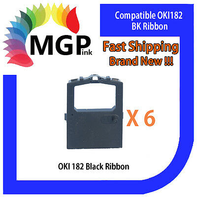 6x OKI-182 Compatible Black Ribbon for OKIDATA ML120/172/180/182/183/186/190/192