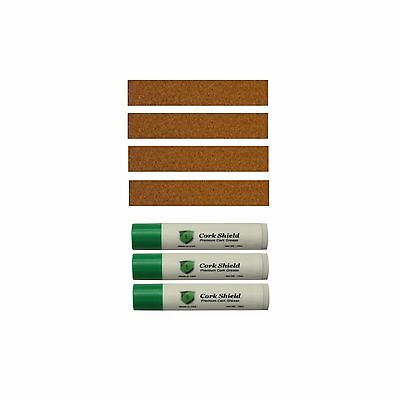 Composite Cork Strip Assortment, for Clarinet, Saxophone w 3 Pack Cork Grease