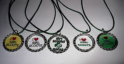 5 Girl Scout Bottlecap Necklace With Green Cords Gift Party Favors Girl Scouts