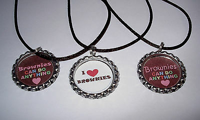 6 GIRL SCOUT BOTTLECAP NECKLACE WITH GREEN CORDS GIFT PARTY FAVORS GIRL SCOUTS