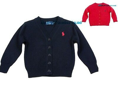 Children Boys Toddlers Navy Red Cardigan Cotton Jumper Sweater Size 2-5Years