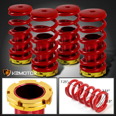 For 88-00 Civic 94-01 Integra Front+Rear Coilover Springs Red+Gold Top+Num Scale