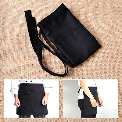 Black Unisex Waiters Waitress Chef Waist Half Short Restaurant Apron Two Pockets