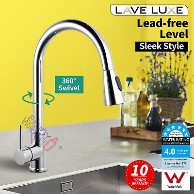 Commercial Kitchen Pull Out Faucet Mixer Tap w/ Gooseneck Braided Hose Pre Rinse