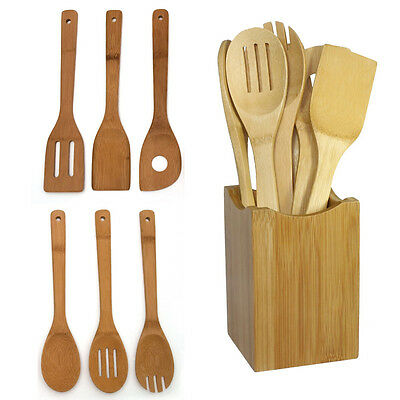 6 pcs Bamboo Kitchen Utensil Wooden Cooking Tool Spoon Spatula Mixing Set
