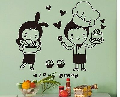 Cute Cartoon Baker Chef Love Bread Cake Wall Sticker Kitchen Bakery Decor Decal
