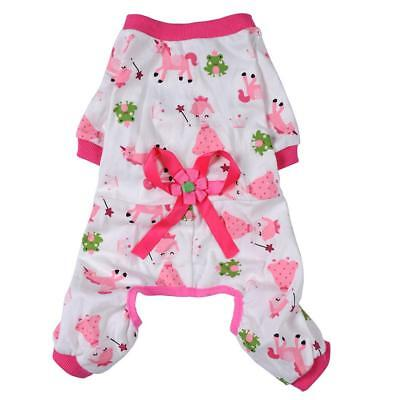 Dog Puppy Shirt Clothes Jumpsuit Pet Apparel Cat Pajamas Costume Pink S