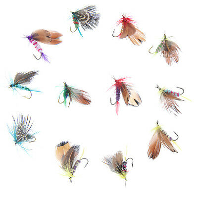 12pcs Fly Fishing Lure Insect Artificial Bait Feather Tackle Bait Single Hook