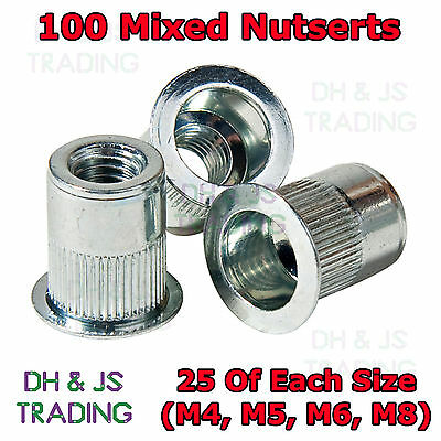 100 Mixed Nutserts Threaded Pop Rivet Nut Inserts M4 M5 M6 M8 Nut Sert Nutsert
