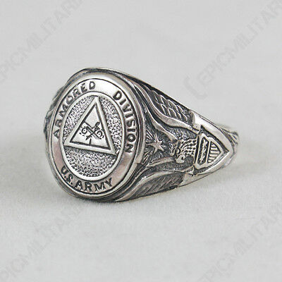 US ARMORED DIVISION RING - Silver Jewellery Military WW2 American Style