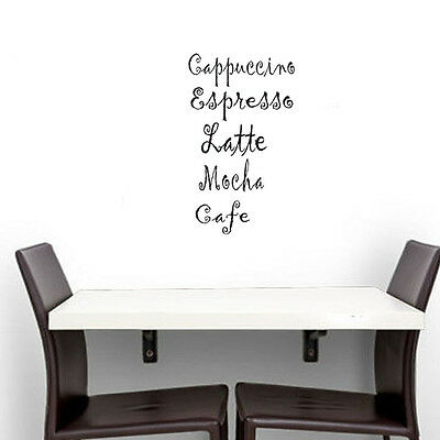 Cappuccino Espresso Latte Mocha Cafe Coffee Wall Sticker Kitchen Decor Art Decal