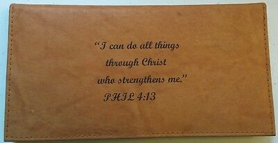 Men's Women's Christian CAN DO ALL THINGS Brown Tan REAL LEATHER Checkbook Cover