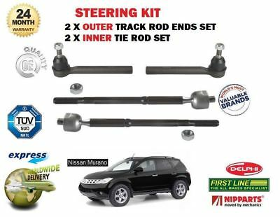 FOR NISSAN MURANO 2004-2008 2 x OUTER & 2x INNER STEERING TRACK RACK TIE ROD END