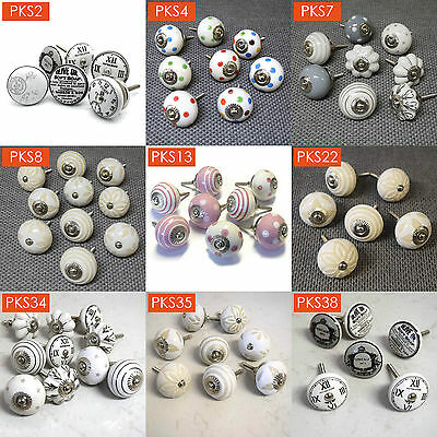 Mixed Set Packs of Ceramic Porcelain Cupboard Door Drawer Knobs Pulls Vintage