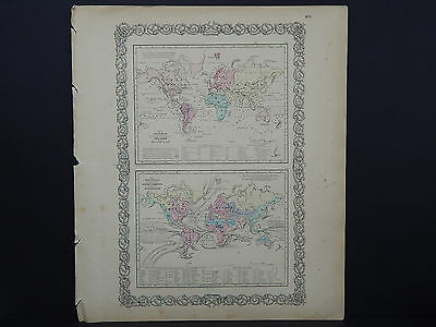 Colton's Maps, 1855, Authentic, Ocean Currents, River Systems, Tidal Lines
