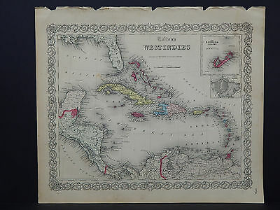 Colton's Maps, 1855, Authentic #09 West Indies
