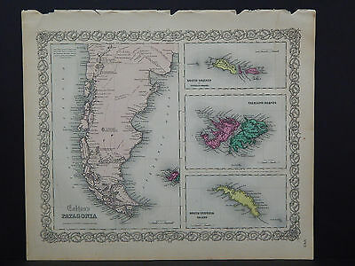 Colton's Maps, 1855, Authentic #15 Patagonia