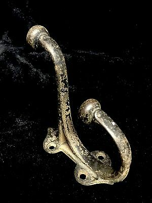 English Antique Coat Hook , Architectural Salvage Cast Iron Handle Knob .