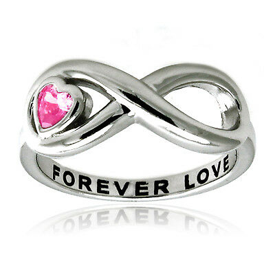 Sterling Silver 925 Forever Love Pink CZ Heart Infinity Wedding Ring