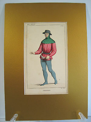 Jardinier Hand Colored Engraving Ancient French Costume Paul LaCroix Paris 1831