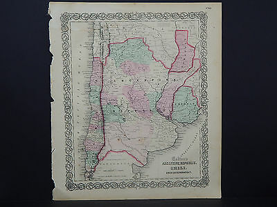 Colton's Maps, 1855, Authentic #43 Argentine Republic, Chili, Uruguay & Paraguay