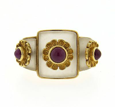 Ilias Lalaounis 18K Gold Frosted Crystal Ruby Ring