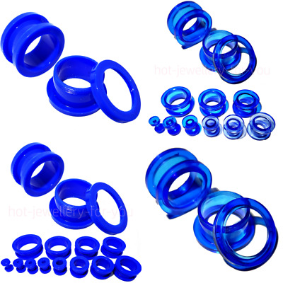 BLUE ACRYLIC Flesh Tunnel SCREW BACK Ear Plug Stretcher Body Jewellery Ear Lobe