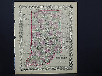 Colton's Maps, 1855, Authentic S1#10 Indiana