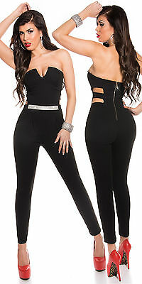 Sexy KouCla Bandeau Overall mit Strass S 36 Jumpsuit Catsuit Party Anzug Stretch