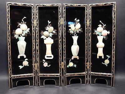 """Antique Chinese Black Lacquer/ Hand Assembled Table Screen with Hard stone 18 """""""