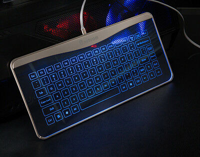 Bastron Transparent Touch Glass Keyboard w/Gesture Control Track Features Silver