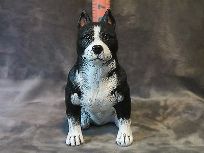 Staffordshire Bull Terrier Plaster Dog Statue Hand Cast & Painted By T.c.schoch