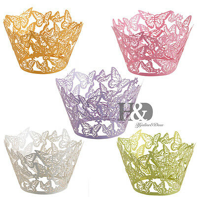Laser Cut Butterfly Cupcake Wrappers Liners Wraps Cases Baking Cup Wedding Decor