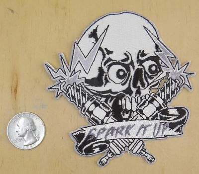 """SKULL /& SPARK PLUGS IRON-ON SEW-ON EMBROIDERED PATCH 4 /"""" X 4/"""" SPARK IT UP"""
