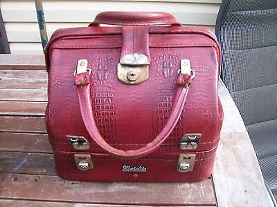 vintage retro red brown full leather lawn bowls bag four bowls base compartment