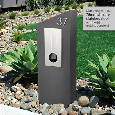 MILKCAN DESIGN - BARCELONA GREY  Concrete LETTERBOX 304 Stainless FRONT Mailbox