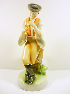 """Zsolnay, Sheperd Playing On The Flute 10"""", Handpainted Porcelain Figurine !"""