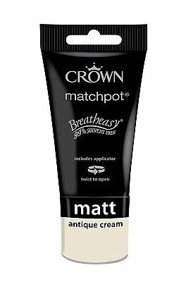 Crown Breatheasy Matchpot Tester Pot Antique Cream Matt Paint 40Ml