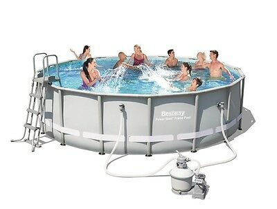 Bestway 16ft Power Steel Frame Swimming Pool (19,480L) with Sand Filter Pump