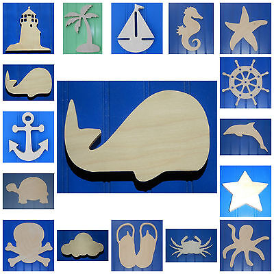 "Wooden Shapes Nautical 10"" Size Unpainted Wood Beach Pirate Sailing Wall Decor"