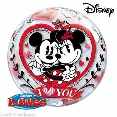 """Qualatex Bubbles Balloon 22"""" Mickey And Minnie I Love You Valentines Decoration"""