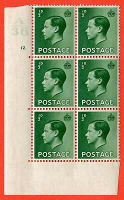 SG. 457. P1 b. ½d green. A superb UNMOUNTED MINT. Control  A36 cylinder 12 dot.