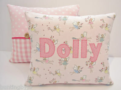 Girls CATH KIDSTON FABRIC Personalised CUSHION incl PAD - Fairies -Made To Order