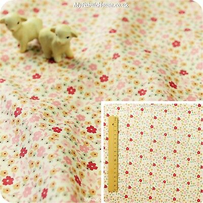 PINK Fat Quarter/Meter 100%Cotton Fabric FQ Quilt Sew Floral Ditsy Petite Flower