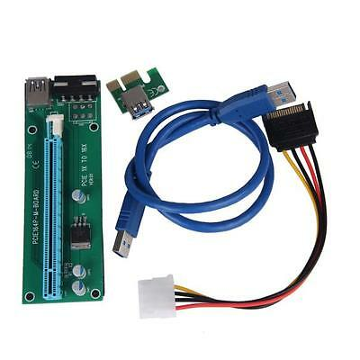 2x PCI-E Express Powered Colonne montante Carte W/USB 3.0 Extenseur Câble 1x à