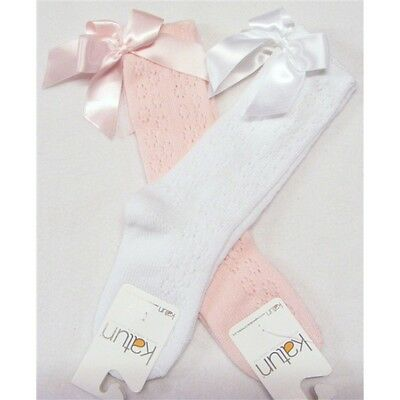 Baby Girls Spanish Lace Knit Knee High Socks With Back Bow White Or Pink .